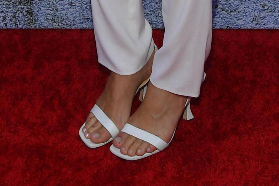 A closer look at Robbie's By Far sandals. - Credit: Michael Buckner for PMC