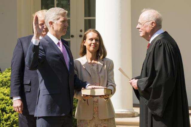 Associate Supreme Court Justice Neil Gorsuch is sworn in by Justice Anthony Kennedy on April 10, 2017. (Photo: Patsy Lynch/MediaPunch /IPX)