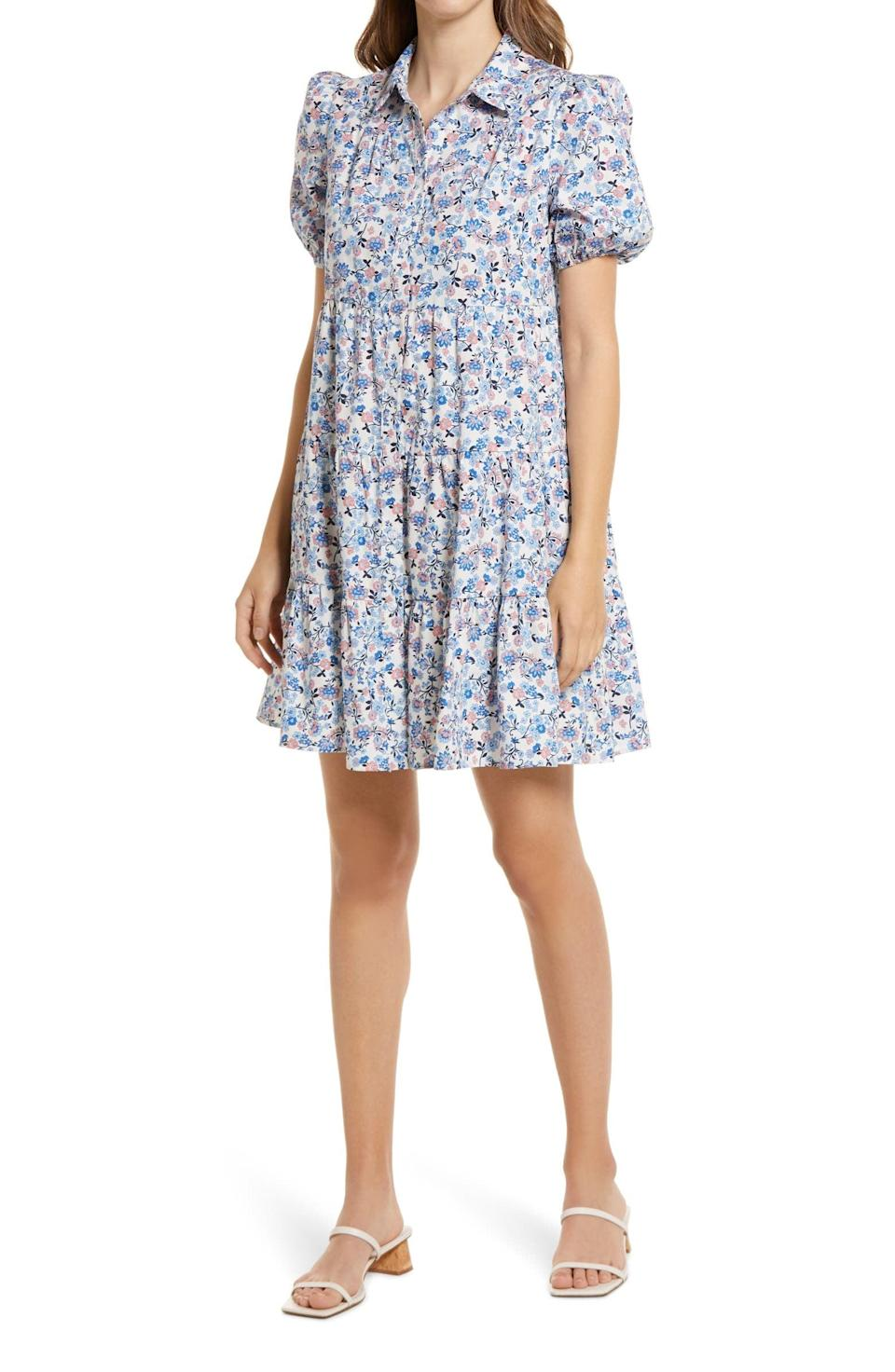 <p>For an easy-breezy summer look, this <span>Eliza J Floral Puff Sleeve Shirtdress</span> ($108) has you covered with its flouncy tiered skirt.</p>