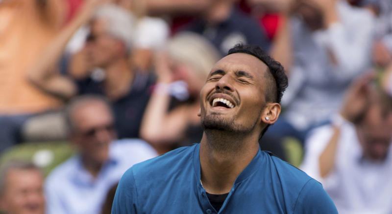 Nick Kyrgios reacts during the match against Maximilian Marterer at the ATP Mercedes Cup tournament in Stuttgart, Germany, Thursday, June 14, 2018. (Marijan Murat/dpa via AP)