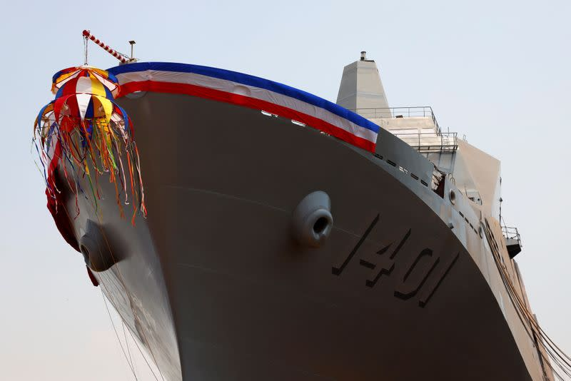 "Taiwan Navy's domestically built amphibious transport dock ""Yushan"" is seen after its launching ceremony in Kaosiung"