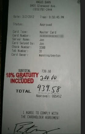 Peyton Manning Leaves Generous Tip Server Gets Fired For