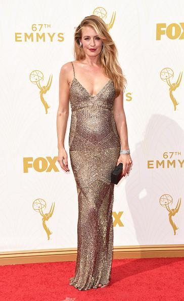 """<p>At six months pregnant, Cat Deeley still wore a dress straight off the runway from Monique Lhullier. The """"So You Think You Can Dance"""" host, in a gown from the Fall 2015 collection, appeared like an Emmys statue herself in the beaded slip dress on steroids.<br></p>"""
