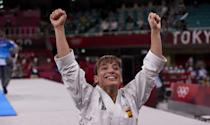 <p>Sandra Sanchez of Spain wins the first-ever Karate gold medal at Nippon Budokan on August 5.</p>