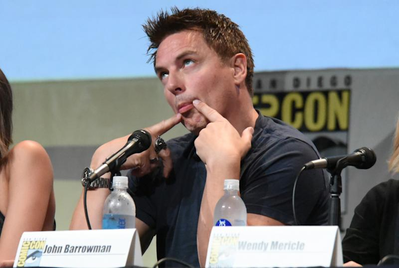 "John Barrowman attends the ""Arrow"" panel on day 3 of Comic-Con International on Saturday, July 11, 2015, in San Diego. (Photo by Richard Shotwell/Invision/AP)"