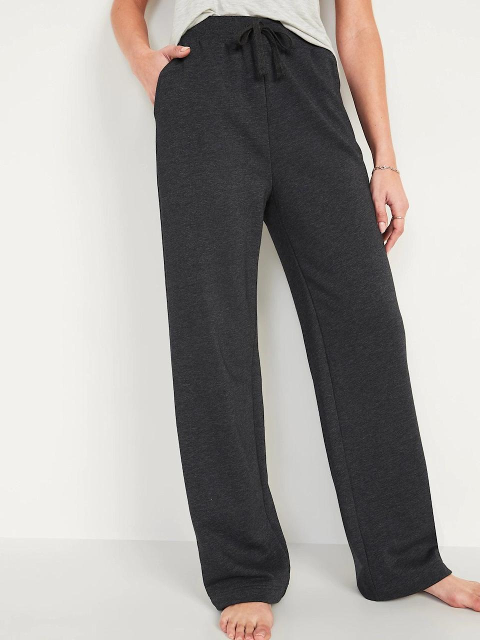 <p>We'd pick these <span>Old Navy Extra High-Waisted French Terry Sweatpants</span> ($20, originally $30) in shades of gray, black, or leopard solely for the wide-leg bottoms.</p>