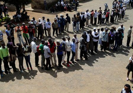 Electorates queue to cast their ballots during JP primaries in Nairobi