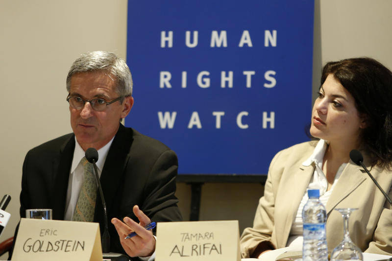 Eric Goldstein, deputy director of Human Rights Watch's Middle East and North Africa division, left, and Tamara Al Rifai, Director, Advocacy and Communications Middle East and North Africa right, speak to media during a news conference in Rabat Friday, June 21, 2013. Human Rights Watch says in a new report that Morocco's justice system overly relies on coerced confessions and needs serious reform. (AP Photo/Abdeljalil Bounhar)