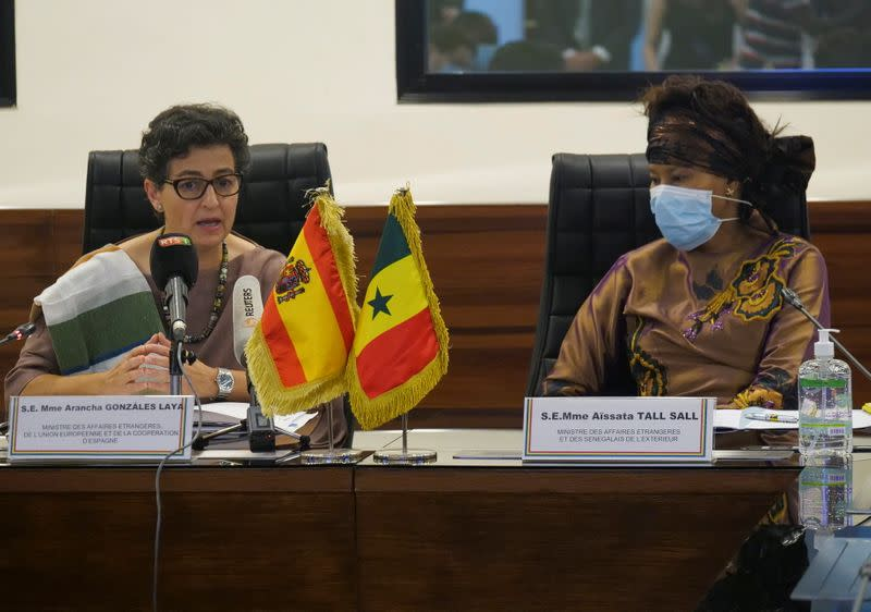 Spanish Minister of Foreign Affairs Arancha Gonzalez Laya speaks as she attends a meeting with Senegalese Foreign Minister Aissata Tall Sall during her visit in Dakar