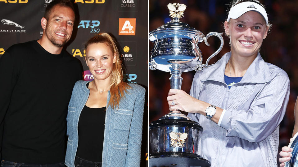 Caroline Wozniacki and David Lee, pictured here in 2020.