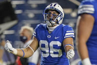 BYU tight end Carter Wheat celebrates after scoring against Louisiana Tech during the first half of an NCAA college football game Friday, Oct. 2, 2020, in Provo, Utah. (AP Photo/Rick Bowmer, Pool)
