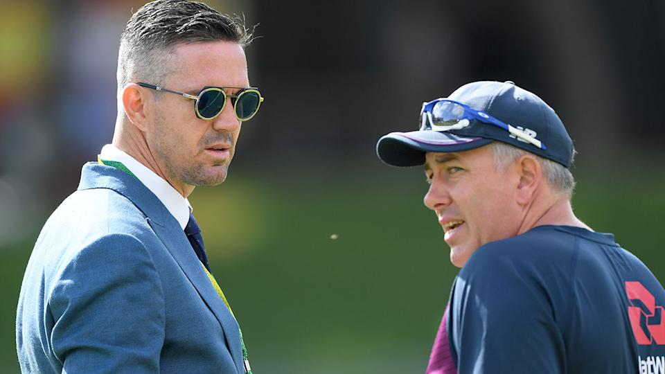 Seen here, Test great Kevin Pietersen at an England cricket training session.