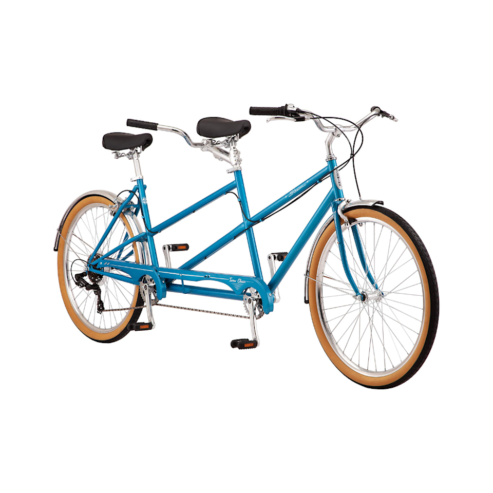 """<p><strong>Schwinn</strong></p><p>amazon.com</p><p><strong>$525.84</strong></p><p><a href=""""https://www.amazon.com/dp/B086ZKJ56T?tag=syn-yahoo-20&ascsubtag=%5Bartid%7C2139.g.34408578%5Bsrc%7Cyahoo-us"""" rel=""""nofollow noopener"""" target=""""_blank"""" data-ylk=""""slk:Shop Now"""" class=""""link rapid-noclick-resp"""">Shop Now</a></p><p>Are tandem bikes a little cheesy? Maybe. Are they also the perfect beginning to the amazing anniversary story when you first rode a tandem bike together? Absolutely.</p>"""