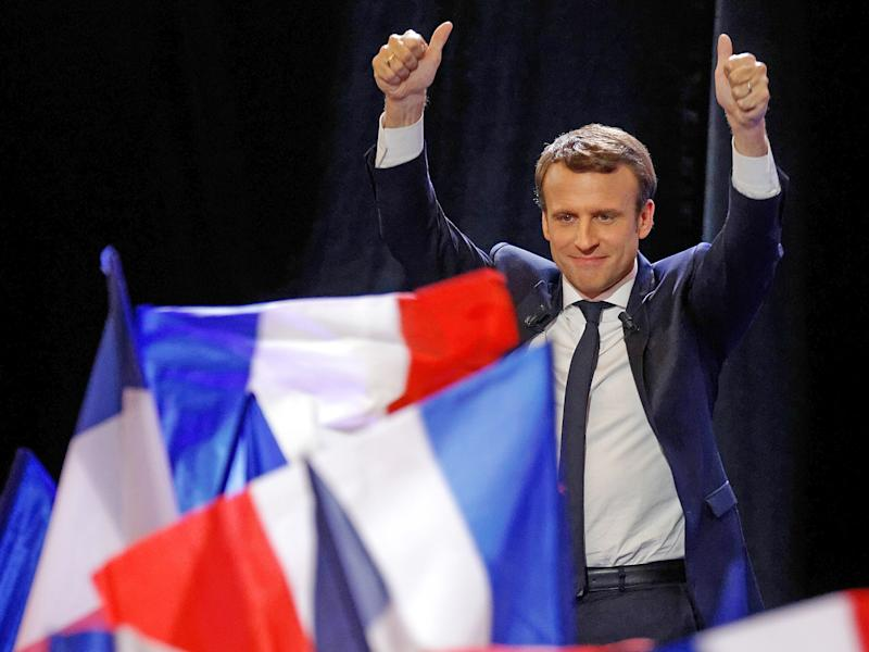 Emmanuel Macron is head to head against Marine Le Pen for the French presidency: Getty
