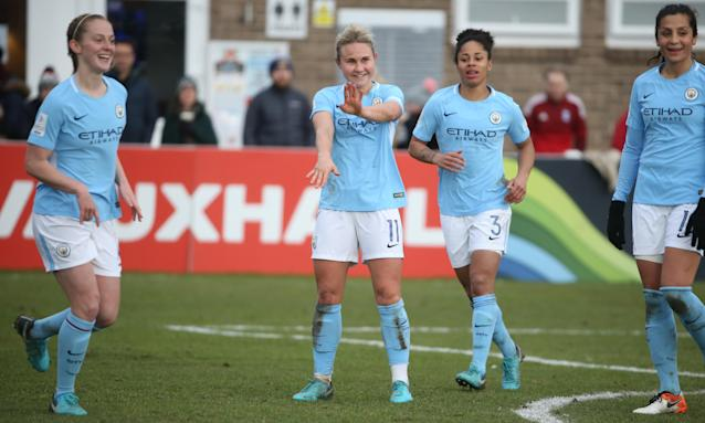 Izzy Christiansen, centre, scored Manchester City's second goal over Sunderland on Sunday.
