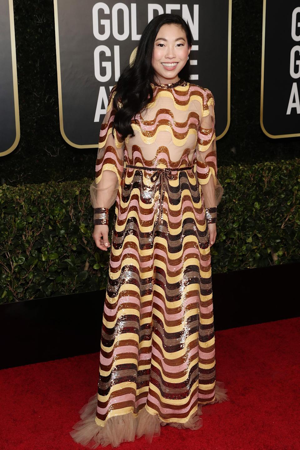 """<h2>Awkwafina in Gucci</h2><br>The pattern on Awkwafina's Golden Globes dress is making us dizzy in the best possible way.<span class=""""copyright"""">Photo: Todd Williamson/NBC/NBCU Photo Bank via Getty Images.</span>"""