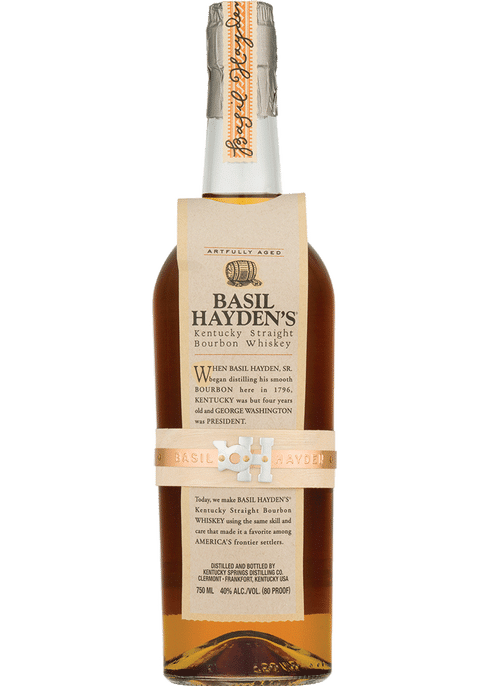 """<p><strong>Basil Hayden's</strong></p><p>totalwine.com</p><p><strong>$32.99</strong></p><p><a href=""""https://www.totalwine.com/spirits/bourbon/small-batch-bourbon/basil-haydens-kentucky-straight-bourbon-whiskey/p/2709750"""" rel=""""nofollow noopener"""" target=""""_blank"""" data-ylk=""""slk:Shop Now"""" class=""""link rapid-noclick-resp"""">Shop Now</a></p><p>This guy is a fave among regular bourbon drinkers. And for good reason. It has a spicy, warming finish that tastes unreal served on the rocks or in an old-fashioned.</p>"""