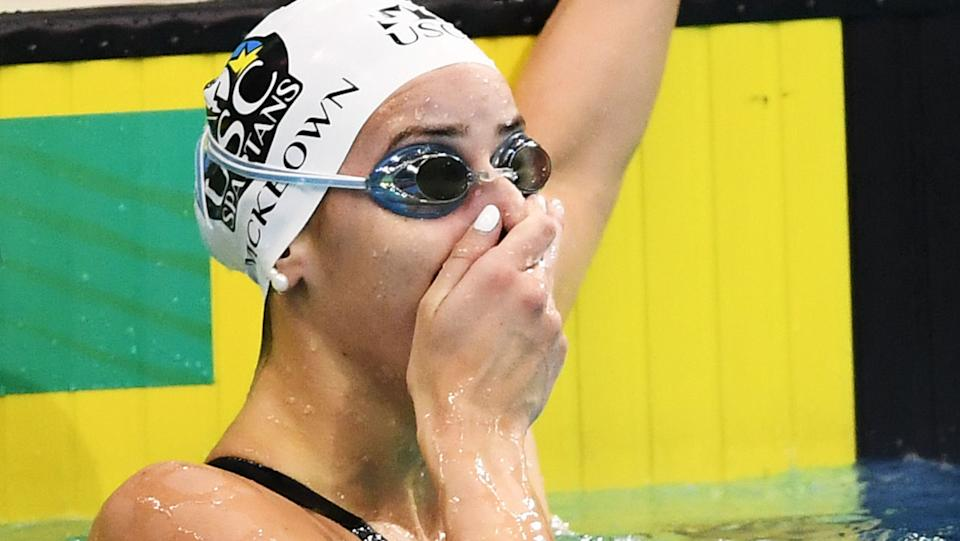 Kaylee McKeown, pictured here after breaking the women's 100m backstroke word record at the Australian National Olympic Swimming Trials.