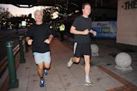Conservative Party leader David Cameron (right) goes running this morning with Desmond Swayne MP before delivering his keynote speech to the Conservative Party conference this afternoon.