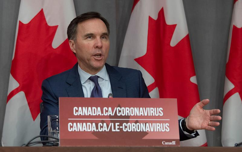 Minister of Finance Bill Morneau responds to a question during a news conference in Ottawa on March 27, 2020. (Photo: Adrian Wyld/THE CANADIAN PRESS)