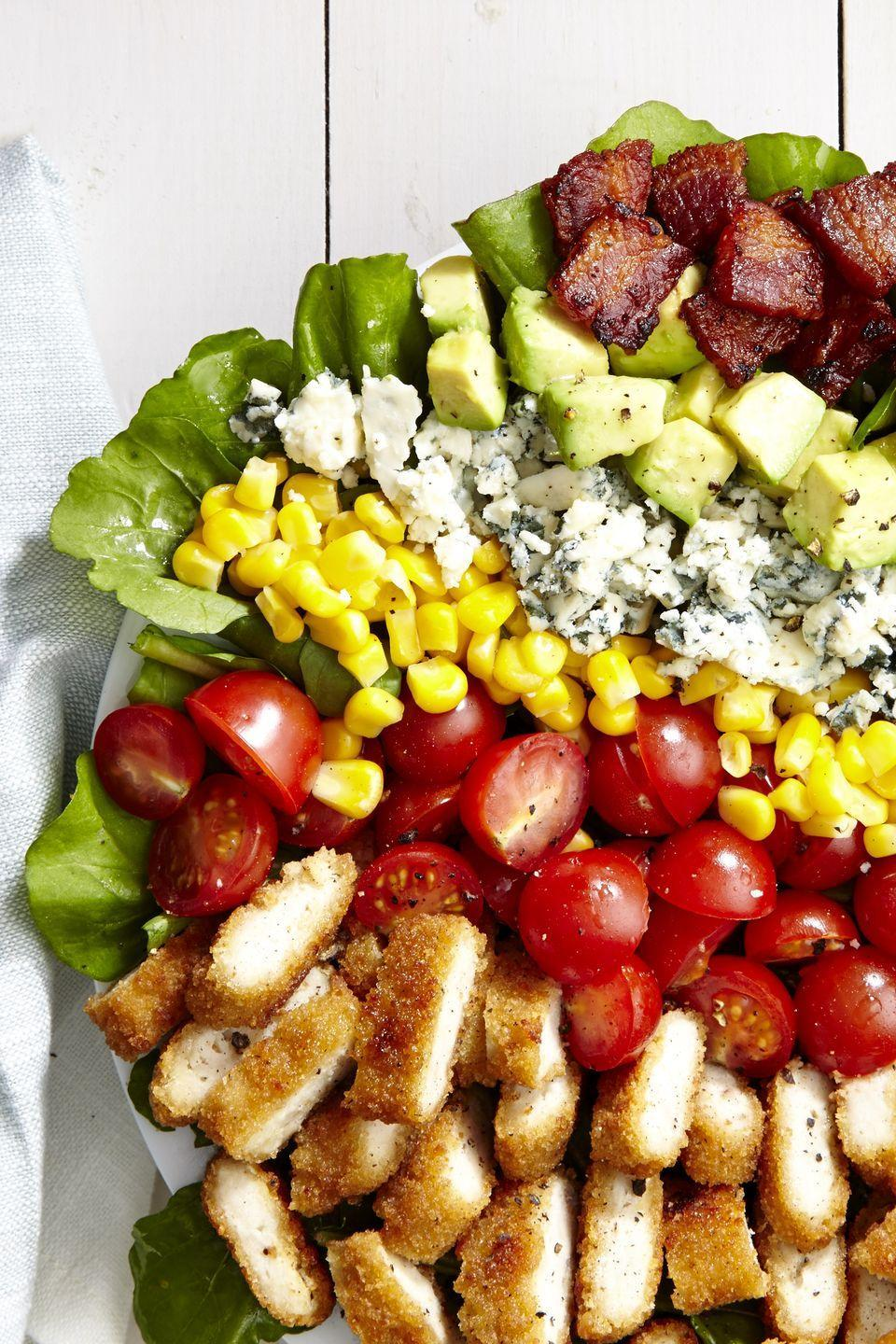 """<p>Up your salad game with this classic Cobb.</p><p>Get the recipe from <a href=""""https://www.delish.com/cooking/recipe-ideas/recipes/a46115/breaded-chicken-cobb-salad-recipe/"""" rel=""""nofollow noopener"""" target=""""_blank"""" data-ylk=""""slk:Delish"""" class=""""link rapid-noclick-resp"""">Delish</a>.</p>"""