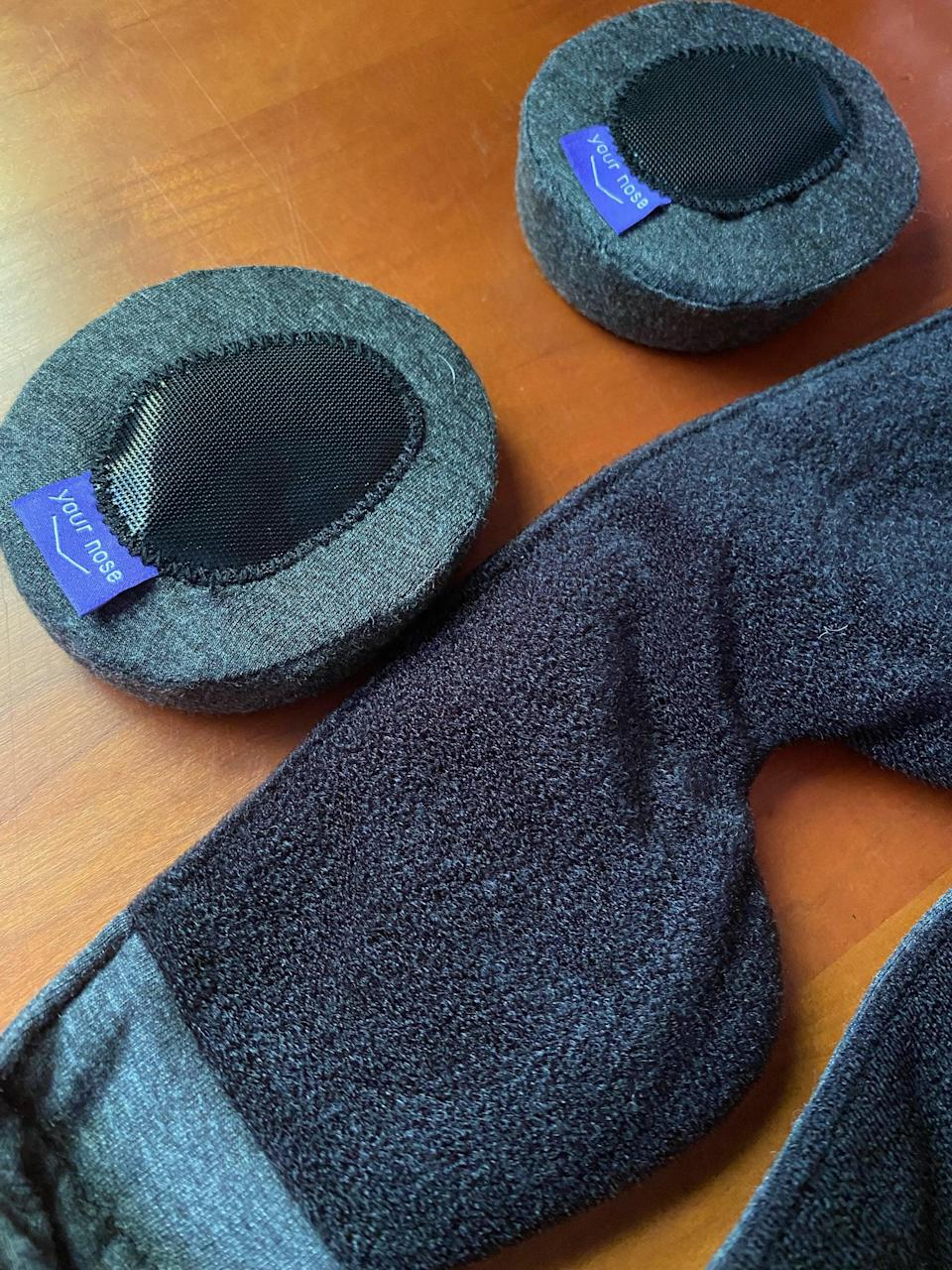 <p>The eye cups stay put with velcro so they're easily adjustable to give you your perfect fit. The cups can also be removed if you prefer gentle pressure on your closed eyelids and just want to use the weighted eye mask alone. The interior fabric is soft and cozy like the cups. This is a great option if you sleep on your side or belly. It still blocks most of the light as long as you make sure it's snug against the bridge of your nose. </p> <p>You can also purchase the strap and the eye cups separately - <span>Weighted Head Strap</span> ($30) and <span>Eye Cups</span> ($20) - if you need an extra of either one. There are also different types of eye cups available such as <span>Silk Eye Cups</span> ($30) or <span>Cool Eye Cups</span> ($25), so you can mix and match what you prefer. If you want to swap out the strap, there's also a lavender-scented <span>Aroma Head Strap</span> ($30), so there are a lot of options.</p>