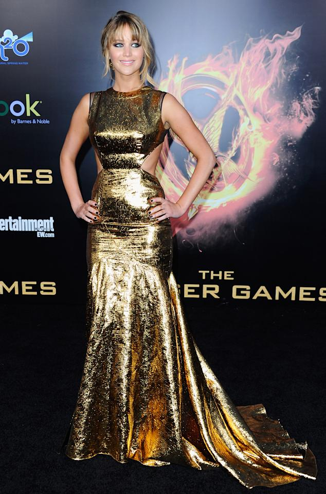 "Jennifer Lawrence, star of ""Silver Linings Playbook,"" received rave reviews for this Prabal Gurung gold gown."