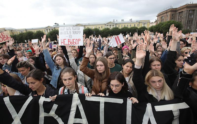 A rally in St Petersburg in support of the sisters. Source: Getty