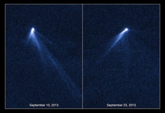 Named P/2013 P5, this object is the first body in the asteroid belt to be spotted with multiple tails. The tails seem to have swung around in the time between the initial images taken by the Hubble Space Telescope on Sept. 10, 2013 and the seco