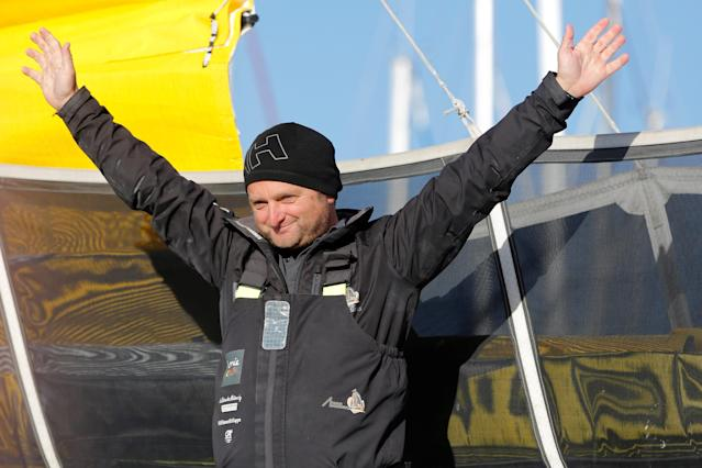 Skipper Arnaud Boissieres of France gestures just before leaving Les Sables d'Olonne, on France's Atlantic coast, to start in the Vendee Globe sailing race, western France November 6, 2016. REUTERS/Stephane Mahe