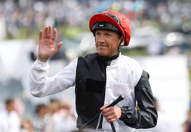 Horse Racing - Derby Festival - Epsom Downs Racecourse, Epsom, Britain - June 1, 2018 Frankie Dettori celebrates on Cracksman after winning the 3.10 Investec Coronation Cup REUTERS/Peter Nicholls