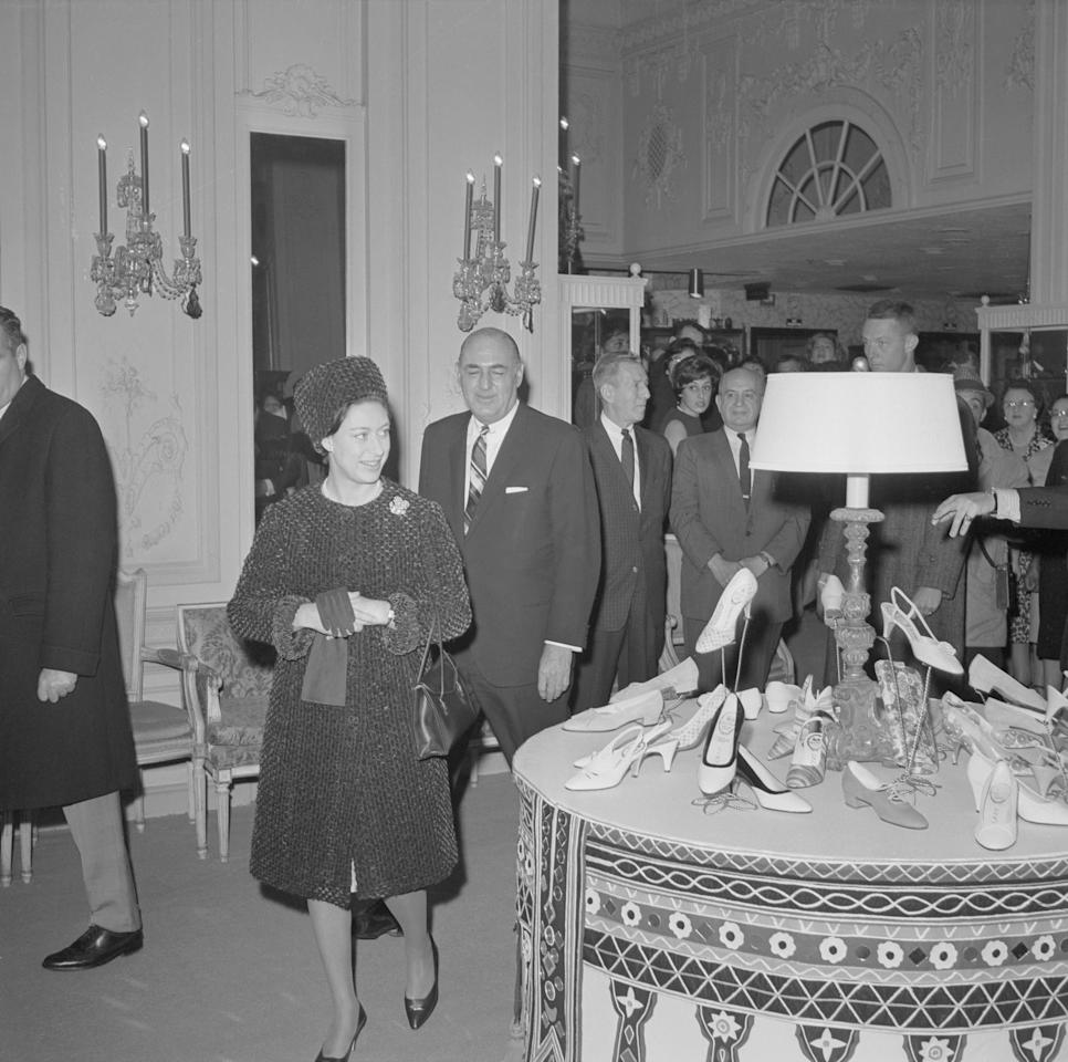 <p>Princess Margaret pictured shopping for shoes at Bergdorf Goodman in Manhattan during her stay in the city with her husband.</p>