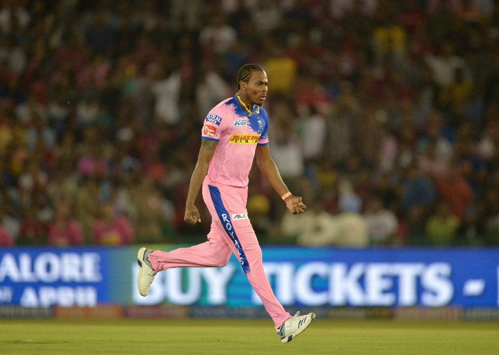 Jofra Archer, celebrating a wicket for Rajasthan in the IPL, has been selected in England's squad for the pre World Cup ODIs against Pakistan and Ireland (AFP Photo/Sajjad HUSSAIN)