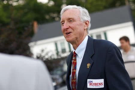 U.S. Senate candidate Jim Rubens speaks with local citizens before a town meeting in Windham