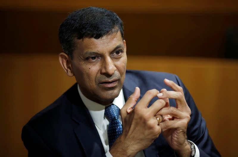 India's former RBI Governor Rajan, gestures during an interview with Reuters in New Delhi