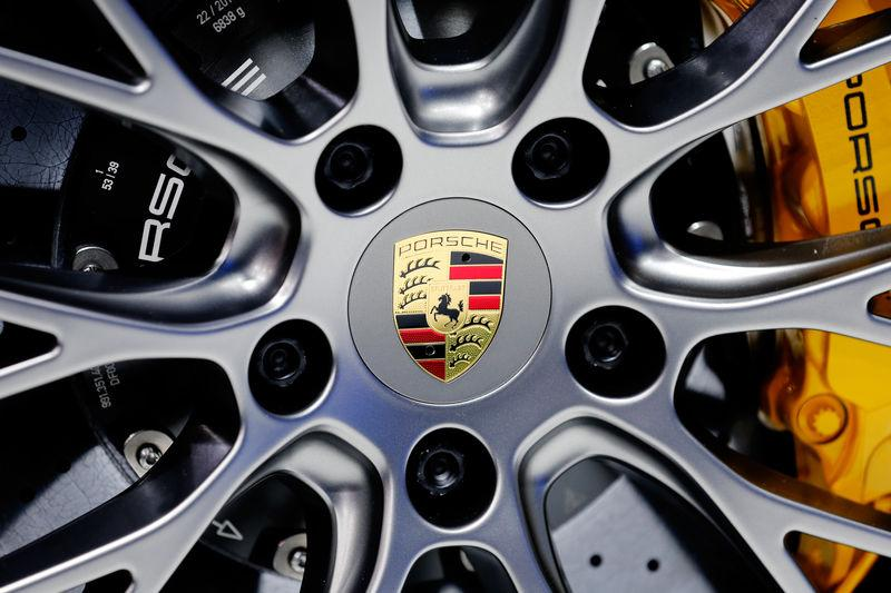 The Porsche log is shown as the new Porsche 911 Targa 4s is introduced during the Los Angeles Auto Show in Los Angeles