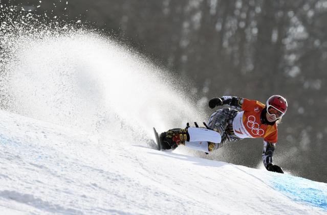 Ester Ledecka of Czech Republic competes in the women's parallel giant slalom. (REUTERS)