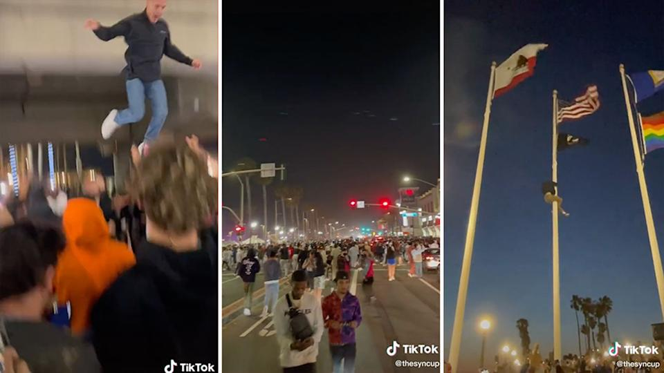Pictured is a man jumping from a bridge, people walking downtown and someone scaling a flag pole.
