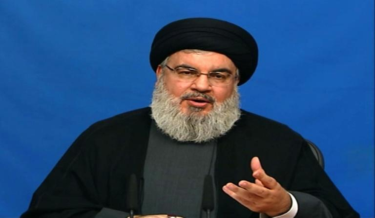 An image grab taken from Hezbollah TV on November 20, 2017 shows Hassan Nasrallah, the head of the Lebanese Shiite movement, giving a televised address from an undisclosed location in Lebanon