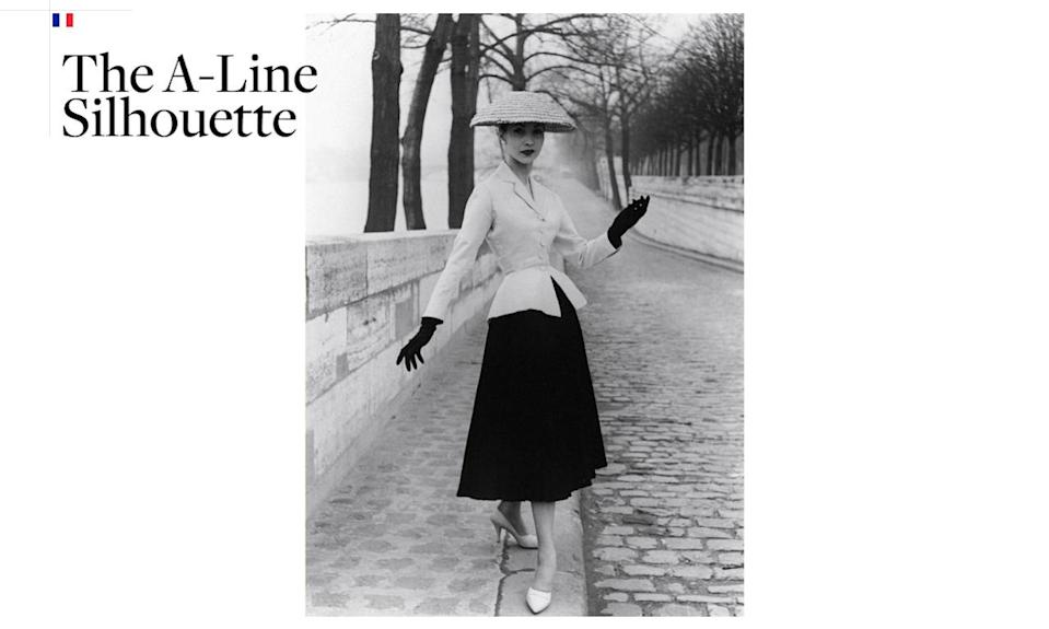 <p>When the A-line was popularized in the '50s, it was a result of Christian Dior's 1947 collection that's now known as the New Look. With a nipped waist and full skirt ending at mid-calf, the dresses allowed women to wear more fabric than what had been allowed during this WWII era. The A-Line is now considered an essential and universally flattering style. <i>(Photo: Getty Images)</i></p>