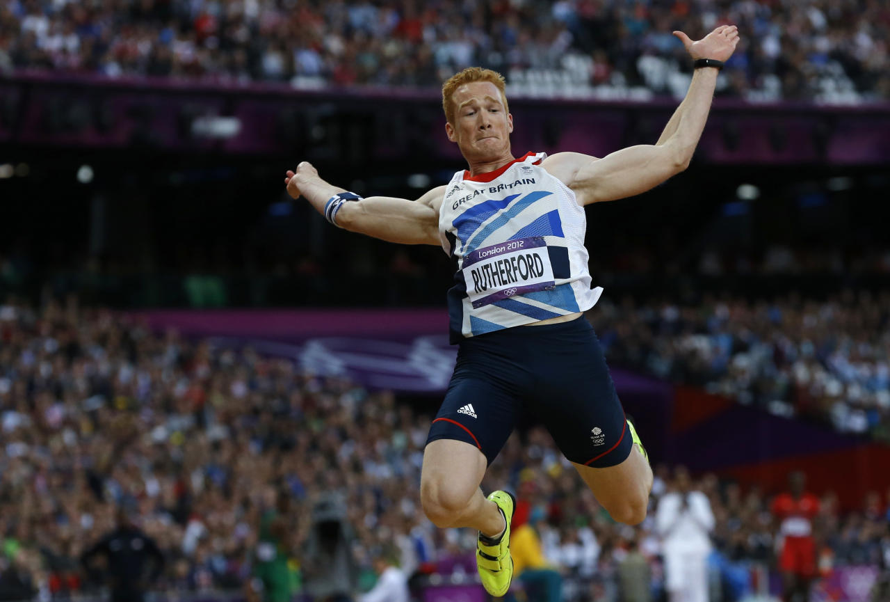 Britain's Greg Rutherford competes in the men's long jump final at the London 2012 Olympic Games at the Olympic Stadium August 4, 2012. REUTERS/Phil Noble (BRITAIN  - Tags: SPORT ATHLETICS OLYMPICS)