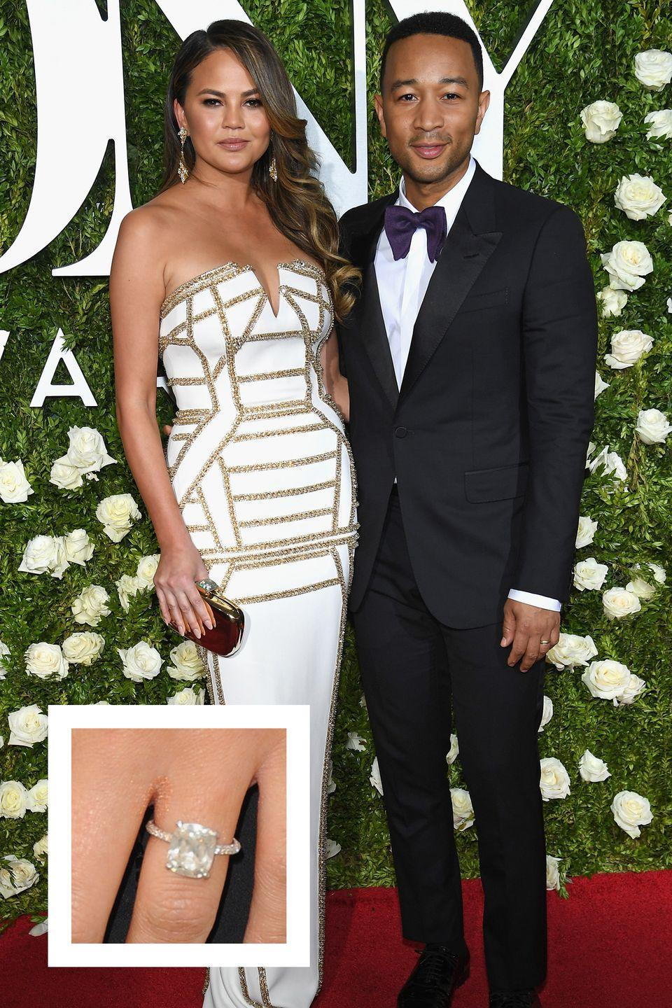 <p>In late 2011, musician John Legend proposed to model Chrissy Teigen with a dazzling cushion cut diamond on a pavé eternity band. </p>