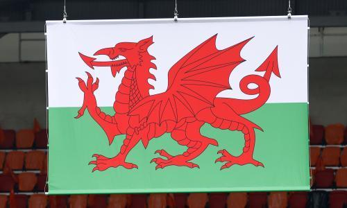 The Welsh flag hanging at a Euro 2020 venue