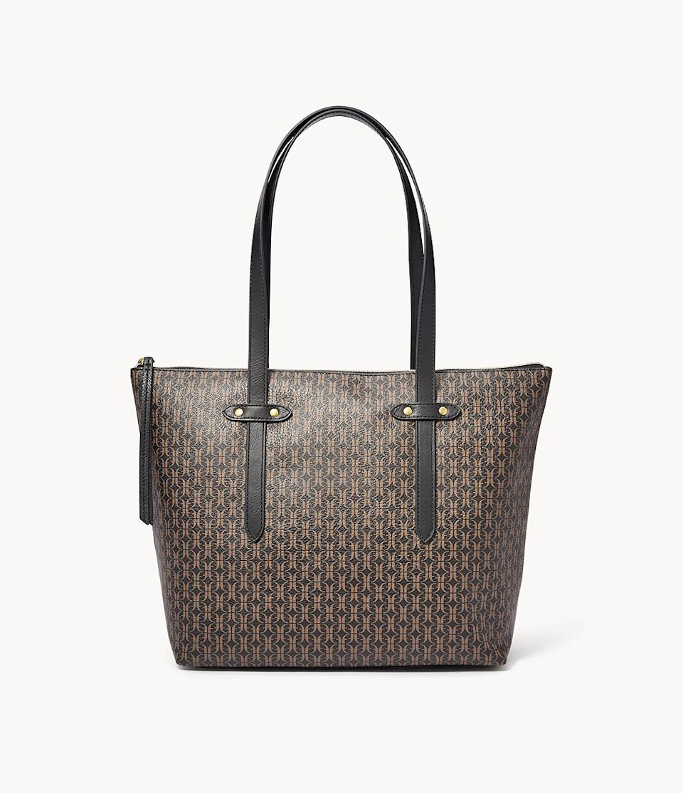 Felicity Tote in black and brown pattern. Image via Fossil.