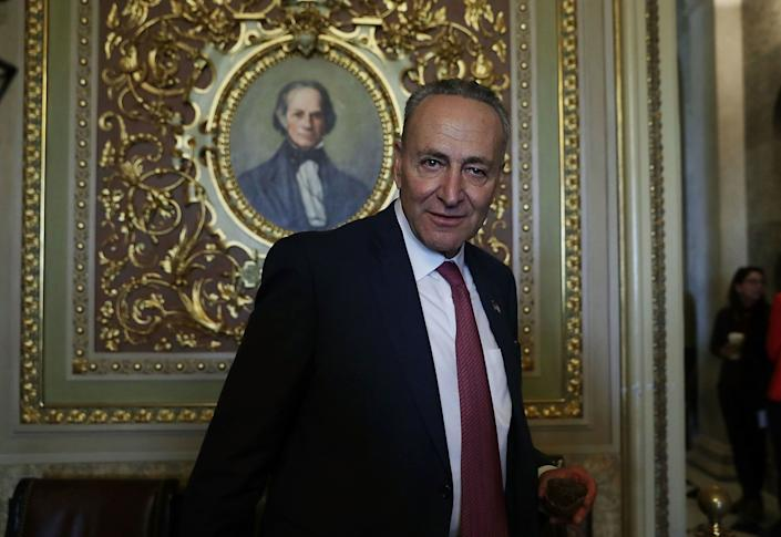 Sen. Charles Schumer (D-N.Y.) leaves after the weekly Senate Democratic policy luncheon at the Capitol on Nov. 16, 2016. Schumer was elected as the incoming Senate minority leader in the morning.