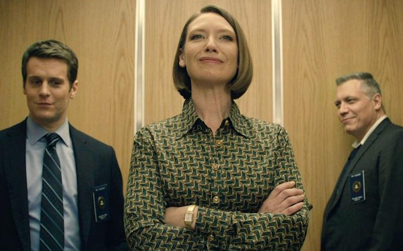 "Jonathan Groff, Anna Torv and Holt McCallany, of Netflix's ""Mindhunter."""