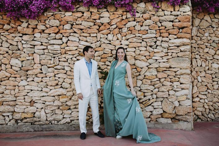 Aram and I arriving at Las Dos Lunas. We were so excited to see everyone after such a long time. My magical dress was truly special. It felt historic wearing Kim Jones for Fendi Haute Couture—his first womenswear collection.