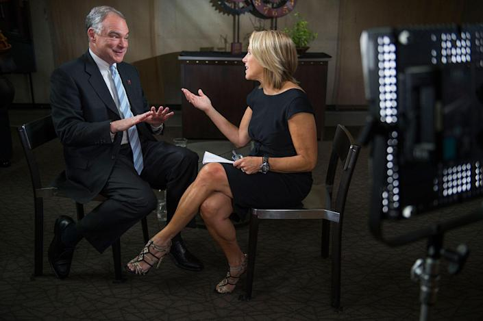 <p>Yahoo Global News Anchor Katie Couric interviews Democratic vice presidential nominee and U.S. Sen. Tim Kaine on Thur., Sept. 22, 2016, after he attended a rally at the University of Nevada, Reno. (Renée C. Byer for Yahoo News) </p>