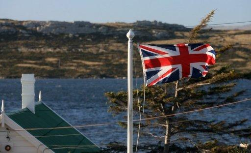The Union Jack flies over a house in Stanley in the Falkland Islands