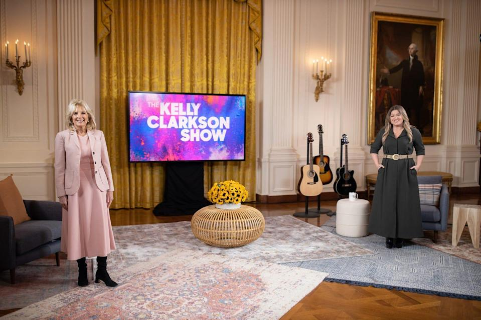 "First lady Jill Biden sat down with Kelly Clarkson for her first major TV interview, in the East Room of the White House. The episode of ""The Kelly Clarkson Show"" airs Feb. 25, 2021."
